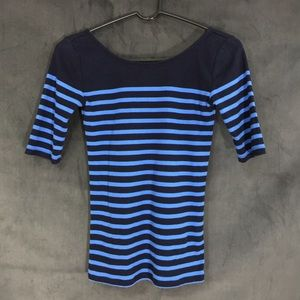 Ann Taylor blue striped fitted stretch top